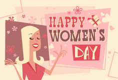 8 March International Women Day Greeting Card Retro Poster Royalty Free Stock Photos