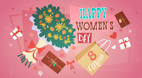 8 March International Women Day Greeting Card Retro Poster Stock Images