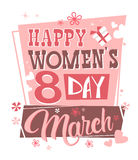 8 March International Women Day Greeting Card Retro Poster Royalty Free Stock Photography