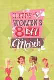8 March International Women Day Greeting Card Retro Poster. Vector Illustration Stock Illustration