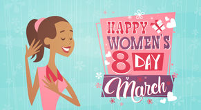 8 March International Women Day Greeting Card Retro Poster. Vector Illustration Royalty Free Illustration