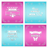 8 March International Women Day Greeting Card Set. Flat Vector Illustration Stock Illustration