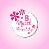8 March International Women Day Greeting Card Stamp Icon Stock Photos