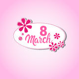 8 March International Women Day Greeting Card Stamp Icon Royalty Free Stock Photo