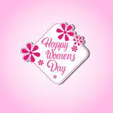 8 March International Women Day Greeting Card Stamp Icon Stock Photo