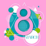 March International Women Day Greeting Card. 8 March International Women Day Greeting Card Vector Illustration Royalty Free Stock Photo