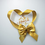 8 of March. International women day. Vector holiday illustration of golden ribbon heart and bow with lettering label. Festive decoration royalty free illustration