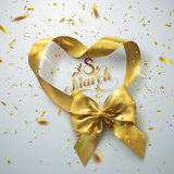 8 of March. International women day. Vector holiday illustration of golden ribbon heart and bow with sparkling confetti glitters. Festive decoration vector illustration