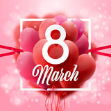 8 March. International Women Day.Vector Illustration Of Flying Balloons. Royalty Free Stock Photo