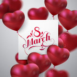 8 March. International Women Day. Vector Illustration Of Flying Heart Balloons, Paper Banner And Holiday Lettering. Festive Decoration royalty free illustration
