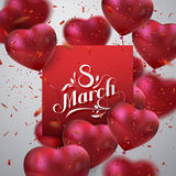 8 March. International Women Day. Vector Illustration Of Flying Heart Balloons, Paper Banner, Sparkling Confetti Glitters And Holiday Lettering. Festive royalty free illustration