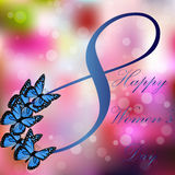 8 March International Women Day. Very high quality origianl trendy vector illustration of 8 March International Women Day Greeting Card With Butterfly on Stock Images