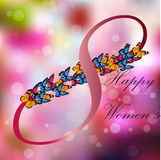 8 March International Women Day. Very high quality origianl trendy vector illustration of 8 March International Women Day Greeting Card With Butterfly on Stock Photos