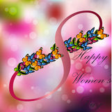 8 March International Women Day. Very high quality origianl trendy vector illustration of 8 March International Women Day Greeting Card With Butterfly on Stock Photography