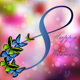 8 March International Women Day. Very high quality original trendy vector illustration of 8 March International Women Day Greeting Card With Butterfly on Stock Photo
