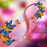 8 March International Women Day. Very high quality original trendy vector illustration of 8 March International Women Day Greeting Card With Butterfly on Royalty Free Stock Photography