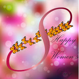 8 March International Women Day. Very high quality original trendy vector illustration of 8 March International Women Day Greeting Card With Butterfly on Stock Image