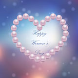 8 March International Women Day. Very high quality original trendy vector illustration of 8 March International Women Day Greeting Card With pearl heart on Stock Photos