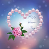 8 March International Women Day. Very high quality original trendy vector illustration of 8 March International Women Day Greeting Card With pearl heart and rose Royalty Free Stock Images