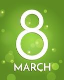 8 March, International Women`s Day. Background with big number eight. On green with lights. Simple design template for greeting card, poster, web banner ad Royalty Free Stock Images