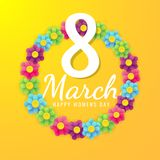 8 march international women`s day background with flower petals. illustration can be used in the newsletter, brochures, postcards,. Tickets, advertisements stock illustration