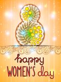 March 8 international women's day background. Greeting card template. Vector illustration royalty free illustration