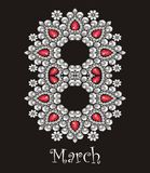 8 march International Women's Day. Beautiful greeting card with rhinestones, holiday pattern Royalty Free Stock Photo