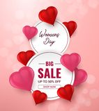 March 8. International Women`s Day big sale background with red 3d Heart Shaped Balloons. Vector vector illustration