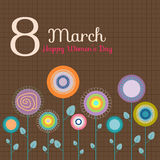 8 March - International Women`s Day Card. With Abstract Sunflowers Stock Illustration