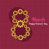 8 March - International Women`s Day Card. With Abstract Sunflowers Vector Illustration