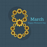 8 March - International Women`s Day Card. With Abstract Sunflowers Royalty Free Illustration