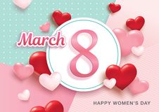 Happy Women`s Day. March 8, International Women`s Day design with 3D hearts background Royalty Free Stock Image