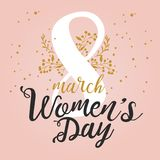8 March International Women`s Day design greeting card with handwritten lettering and hand drawn floral ornament. Luxury. Premium pink and golden Colorful vector illustration
