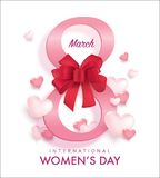 Happy Women`s Day. March 8, International Women`s Day design with number 8 and 3D hearts Stock Images