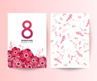 8 March. International Women`s Day. Elegant greeting card design for International Women`s Day celebration on floral background Stock Image