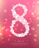 8 March, International Women's Day. Figure eight made out of confetti at the dark pink background full of lights. Design template, illustration royalty free illustration