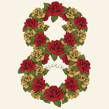 8 March International Women's Day, flower figure. The number of red and yellow rosebuds and leaves. Ornate, floral. Vegetable letter. Greeting card in vintage stock illustration