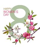 March 8 International Women`s Day greeting card with a blooming branch. Vector eps10 template for your design Royalty Free Stock Photos
