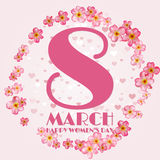 8 March International Women's Day greeting card. With blossom flowers.  illustration Stock Photo