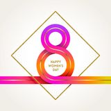 8 March International women`s day greeting card -colorful ribbon in the shape of sign eight. And glitter gold frame. Vector illustration Royalty Free Stock Photos