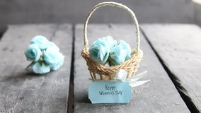 March 8. International Women`s Day greeting card with flowers. Beautiful bouquet of blue flowers in basket. March 8. International Women`s Day greeting card stock footage