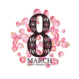 8 March International Women's Day greeting card Stock Image