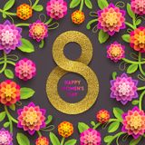 8 March International women`s day greeting card. Glitter gold paper in the shape of sign eight and flowers background Vector illustration Stock Images