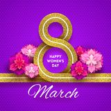 8 March International women`s day greeting. Card - glitter gold ribbon in the shape of sign eight and flowers. Vector illustration Stock Photography