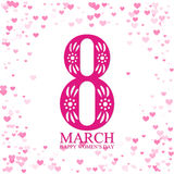 8 March International Women's Day greeting card. With hearts frame Royalty Free Stock Photos