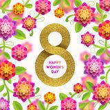 8 March International women`s day greeting card. Glitter gold paper in the shape of sign eight and flowers background. Vector illustration vector illustration