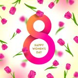 8 March International women`s day greeting card. Paper figure eight on a background with tulips. Vector illustration royalty free illustration