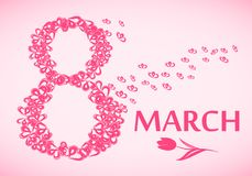 March 8, International Women`s Day greeting card. Vector illustration Royalty Free Stock Images