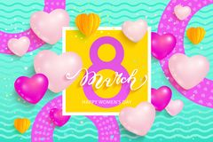 8 March International Women`s Day. Greeting card on mint background. Vector illustration Royalty Free Stock Photography