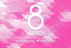 8 March, International Women`s Day greeting card. 8 March, International Women`s Day. Pink mosaic background with number eight and text. Simple design template Stock Images